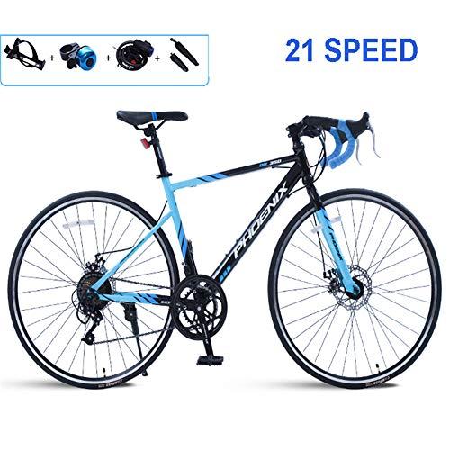 Trekking Fahrrad Cross Trekkingräder,26Inch Aluminium-Rahmen Fahrrad-Gabel Federung Mit Variabler Geschwindigkeit Bicycle.Wheels Doppelscheibenbremse Radfahren,Laufen Freien,Blau,26inch/21speed