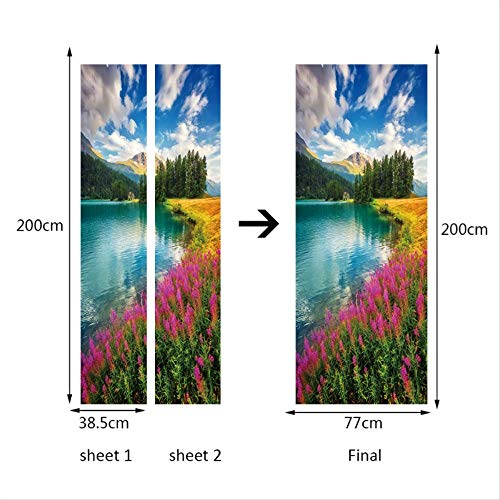 Bloemen-wolken stickers, landschapsstijl, wandsticker, voor slaapkamer, woonkamer, landschap, trekker, waterbestendig, decoratie thuis