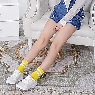 FUWUX Home Calcetines de Tubo japoneses de Primavera y Verano Béisbol Femenino, Dos Barras, Rayas de algodón para Ayudar a los Estudiantes a Llevar Calcetines Deportivos Cortos (Color : Yellow)