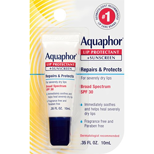 Aquaphor Lip Protectant and Sunscreen Ointment - Broad Spectrum SPF 30 - Relieves Chapped Lips - .35...