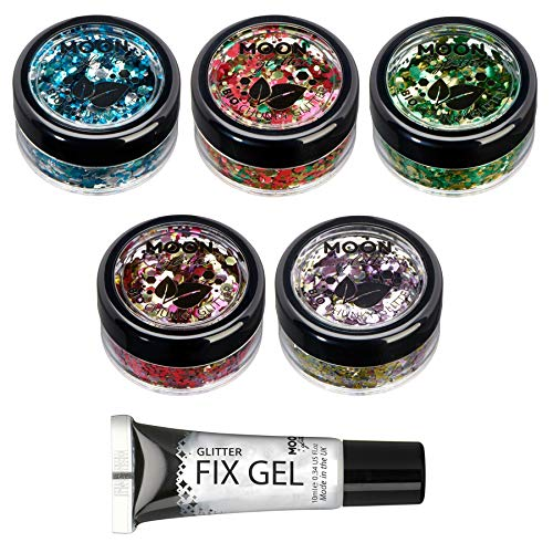 Mystiker Biologisch abbaubarer Öko-Glitter von Moon Glitter - 100% kosmetischer Bio-Glitter für Gesicht, Körper, Nägel, Haare und Lippen - 3g - Set mit 5 Farben