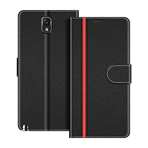 COODIO Handyhülle für Samsung Galaxy Note 3 Handy Hülle, Samsung Galaxy Note 3 Hülle Leder Handytasche für Samsung Galaxy Note 3 Klapphülle Tasche, Schwarz/Rot