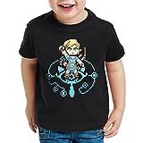 A.N.T. Wild Link Kinder T-Shirt Switch The Breath of SNES Zelda Ocarina, Farbe:Schwarz;Größe:140