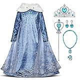IWEMEK Disfraz infantil de Elsa Anna de princesa, disfraz de carnaval, Navidad, fiesta, Halloween, 2-8 años 01 Set 7-8 Años