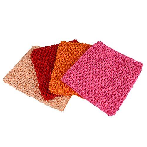 Kelis 6 Pulgadas Colores Surtidos bebé niña Crochet tutú Tubo Tops Pecho Wrap Wide Crochet Diademas Pack de 4