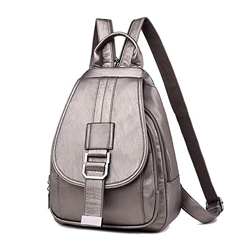 1 pcs 2020 Women Leather Backpacks Vintage Female Shoulder Bag Backpack Travel Ladies Bagpack School Bags for Girls,Bronze,24x10x34 cm