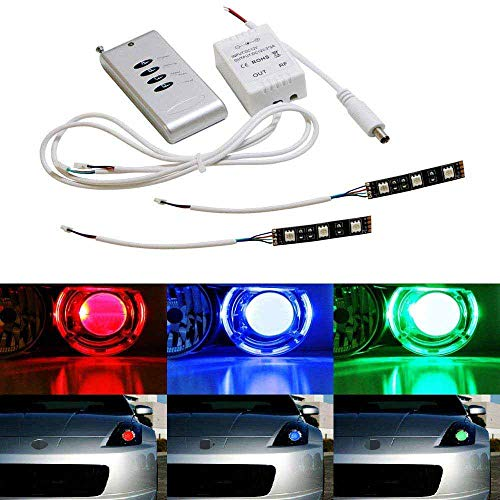 iJDMTOY (2) 3-SMD-5050 RGB LED Demon Eye w/Remote Control Compatible With Car Motorcycle Projector Headlight Demon Eyes Retrofit