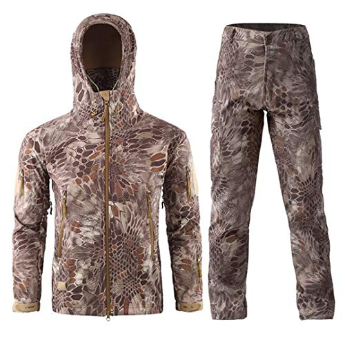 Suenkds Tactical Softshell Jacket Men Military Jackets Camouflage Outwear Coats Outdoor Desert Python Set L