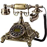 FTFTO Equipo de Vida Teléfono Retro Teléfono Fijo Llave Europea Teléfono clásico Teléfono Retro con Cable para el hogar