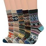 Zando Women's Fall Winter Hiking Socks Wool Socks Boot Socks Vintage Wool Socks Soft Warm Socks...