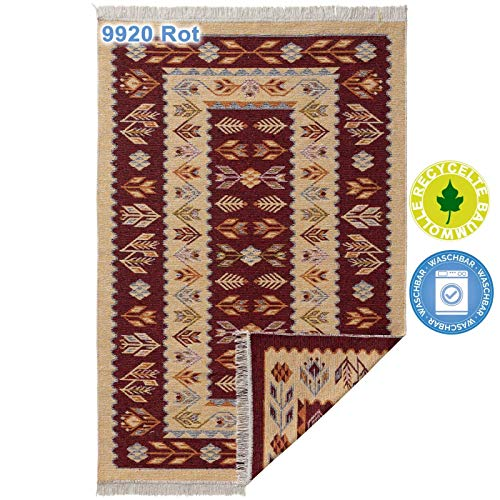 mynes Home Teppiche aus Baumwolle mit Fransen Waschbarer Teppich wendbar Fleckerl Flickenteppich Webteppich Waschbar mit Läufer 100% recycelter Baumwolle, bunt, Farbe: 9920 Rot, Größe: 160 cm x 230 cm