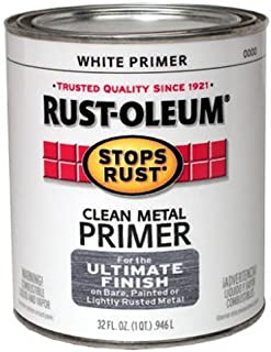 Rust-Oleum 7780502 Protective Enamel Paint Stops Rust, 32-Ounce, Flat White Clean Metal Primer