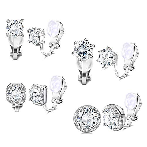 YADOCA 4 Pairs Silver Rose Gold Clip Earrings for Women Girls Cubic Zirconia Stud Ear Clips Hypoallergenic Non Pierced Clip On Earrings Fashion Jewelry Gift