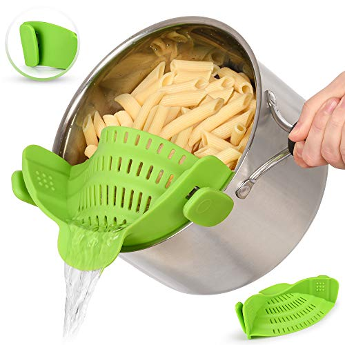 Zulay Kitchen Silicone Strainer - Adjustable Clip On Strainer That Fits Most Pots & Bowls -...