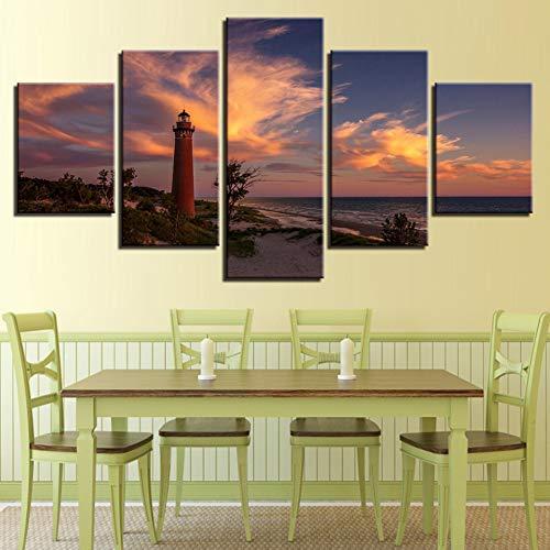 LPHMMD 5 canvas paintings Canvas Painting Home Decor HD Print Pictures 5 Pieces Sunset Lighthouse Coastline Seascape Poster Living Room Wall Art-30x50cm 30x70cm 30x80cm