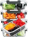 [5-Pack]Glass Meal Prep Containers 3 Compartment with Lids, Glass Lunch Containers,Food Prep Lunch...