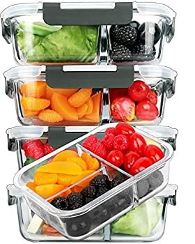 [5-Pack 36 oz]Glass Meal Prep Containers 3 Compartment with Lids Glass Lunch Containers,Food Prep Lunch Box,Bento Box,BPA-Free Microwave Oven Freezer Dishwasher  4.5 Cups