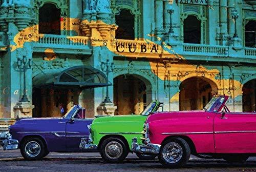 FS Cuba Kaart op huiswand & 3 Autos metalen bord bord gebogen Metal Sign 20 x 30 cm
