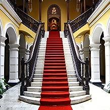 Baocicco 10x10ft Wedding Backdrop Luxurious Building Interior Backdrop Red Carpet Elegant Staircase Arches European Architecture Church Background Wedding Ceremony Portrait Studio Props