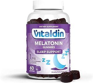 VITALDIN Melatonina gummies - 1 mg por dosis diaria - 60 gominolas (suministro para 2 meses), sabor a Mora - Ayuda a Conciliar el Sueño - Sin Gluten - Apto para Niños & Adultos