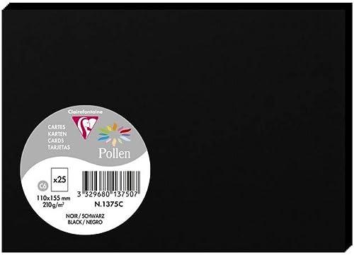 Clairefontaine 1375C - Un paquet de 25 cartes Pollen 11x15,5 cm 210g, Noir