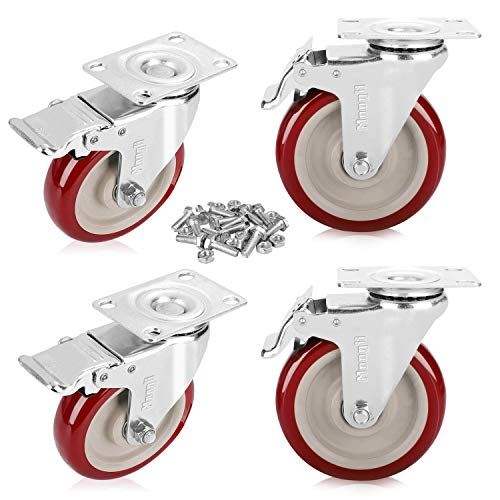 Moogiitools 5' Heavy Duty Swivel Casters Red PVC Wheel with Brake 1500lbs (Set of 4)