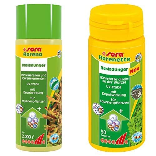 sera Bundle Pflanzenpflege - florena 500ml & florenette 50 Tabl.- für alle Wasserpflanzen Echinodorus, Schwertpflanzen, Cryptocoryne oder Anubias & Stengelpflanzen im Aquarium, Wasserpflanzendünger