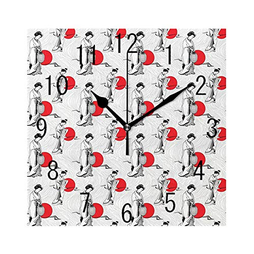 GULTMEE Square Wall Clock Home Decorative Clocks,Japan, Cultural Pattern with Geisha Woman in Kimono Costume on Abstract Wavy Backdrop,Orange White,7.8'×7.8'