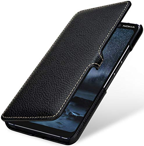 StilGut Book Hülle kompatibel mit Nokia 9 PureView Hülle aus Leder mit Clip-Verschluss, Lederhülle, Klapphülle, Handyhülle - Schwarz