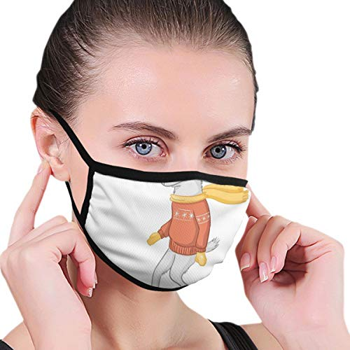 Mouth mask,Cartoon Goat Figure On A Snowboard Wearing Pullover Scarf And Goggles In Winter Season,Unisex Fashion Face Mask for Teens Men Women Outdoor Cycling Sport Ski in Winter