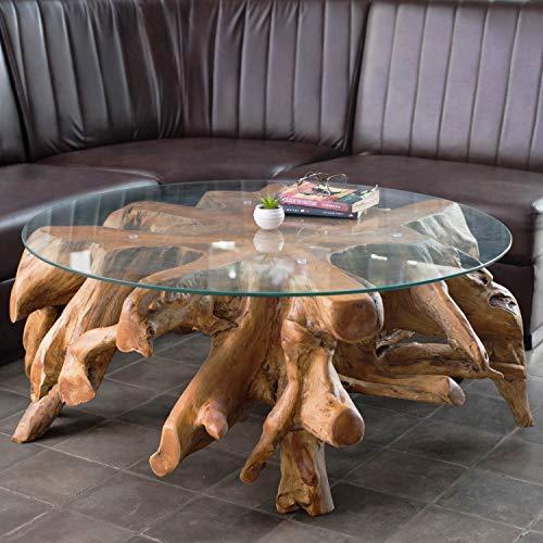 *Wurzeltisch mit Glasplatte ca. 100 cm | Teakholz Tisch aus Einer Wurzel | Wurzelholz Tisch aus nachhaltigem Anbau | Jeder Teakholz Couchtisch EIN Unikat | Teak Wurzel Tisch aus natürlichem Holz*