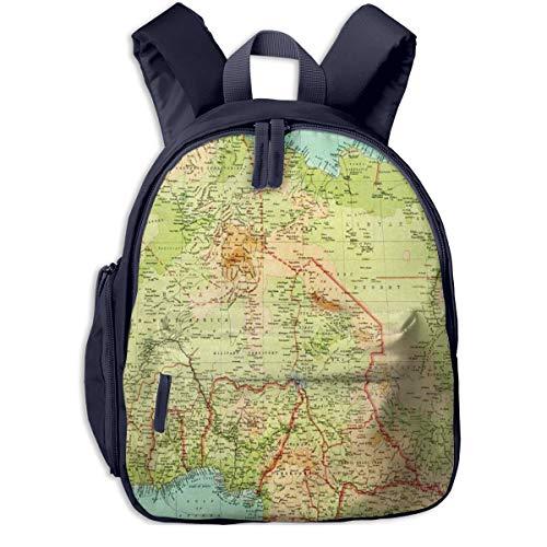 Bolsa La Escuela Mochila con Mapa del Norte de África para Impermeable Mochilas para Niños Niñas