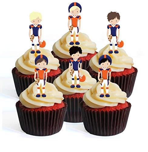 Ballon de football NFL GFL Superbowl Team Player Bleu/orange Theme #3 Edible Cupcake Toppers – Stand Up Wafer Decorations, Packung mit 12