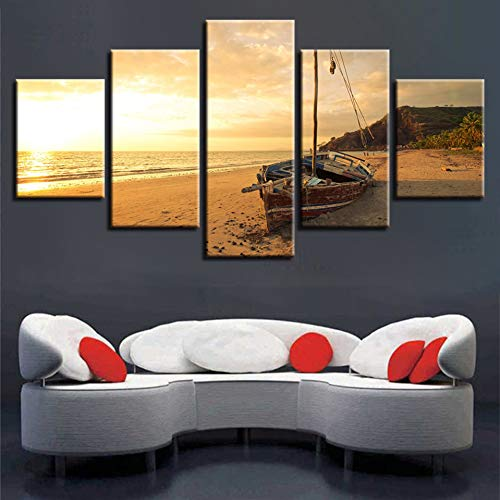 WHFDH muurkunst woonkamer decoratie moderne prints 5 stuks boot zonsondergang seascape schilderij poster canvas afbeelding 10x15 10x20 10x25cm Geen frame.