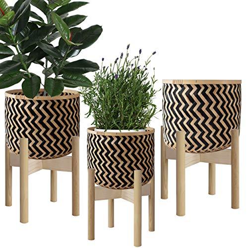 Made Terra Macetas de mimbre tejido natural con soporte, cubierta para maceteros con soporte de madera para decoración de interiores moderna, juego de 3 unidades, L, M, S (Zigzag)