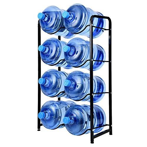 KAX 5 Gallon Water Jug Rack 8 Trays Water Bottle Holder 4-Tier Water Bottle Rack Reinforced Steel Rack for Water Storage Water Bottle Storage Rack for 8 Bottles Black