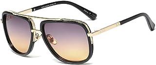 SHEEN KELLY - Retro Vintage Baratas para Mujer y Hombre Marco de metal Grandi gafas de sol Metal Pilotos Espejo