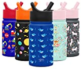 Simple Modern 14oz Summit Kids Water Bottle Thermos with Straw Lid - Dishwasher Safe Vacuum Insulated Double Wall Tumbler Travel Cup 18/8 Stainless Steel -Shark Bite