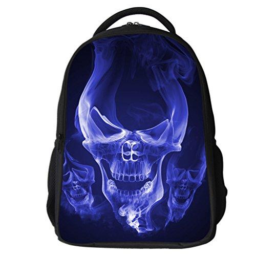 Datomarry Cool Skull Backpack 16 Inch Breathable Mesh Lightweight School Backpack for Kids
