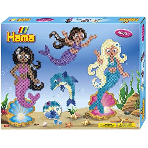 Hama 3150 Mermaids Gift Box Geschenkpackung Meerjungfrauen, Bügelperlen Midi, ca. 4000 Stück inklusive Stiftplatten und Zubehör, bunt, Einheitsgröße