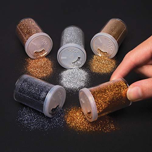 Baker Ross Metallic-Glitzer-Streuer für Kinder – für weihnachtliche Bastelarbeiten und Dekorationen (5 Stück)