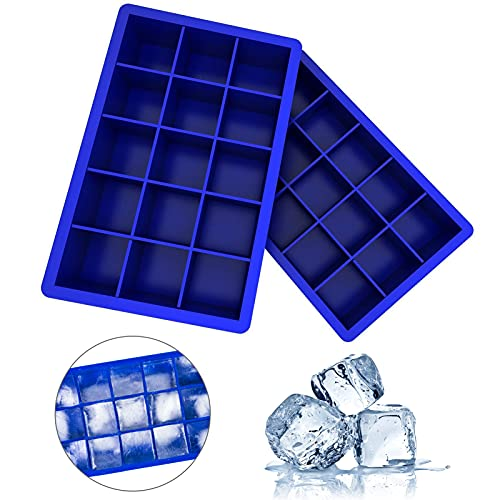 Ozera 2 Pack Silicone Ice Cube Tray, Ice Cube Trays Molds, Ice Cube Tray for Whiskey, Easy Release Flexible Ice Cube Molds 15 Ice Cubes for Cocktail, Chocolate