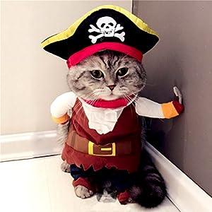 Zunea Petite pour chien ou chat de moins de 9,1kilogram Manteau Costume de pirate avec chapeau de réglable