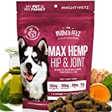 MAX Hemp Glucosamine for Dogs -10-in-1 Vet Formulated Hip & Joint Care Chews with Turmeric + MSM + Chondroitin. Advanced Support Supplement with Essential Vitamins & Fish Oil for Mobility, Pain Relief