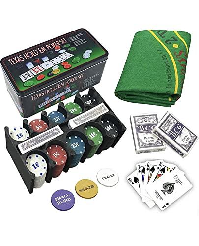 Poker-Set und BlackJack-Spielzeug-Set aus Metall + Spielzeug-Box + Karten.