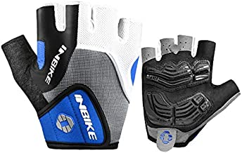 INBIKE 5mm Gel Pad Half Finger Bike Bicycle Cycling Gloves (Blue, Medium)