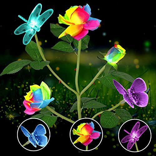 QULONG Solar Garden Lights Outdoor, Rose Solar Flower Lights Multi-Color Changing LED Solar Stake Lights with Butterfly for Garden Patio Yard Pathway Decoration