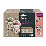 Tommee Tippee Closer to Nature - Biberón anticólico, 260 ml (pack de 6 unidad con decoraciónes rosa),42256410