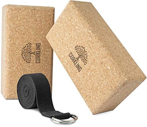 CORKLING® Yoga Block Kork 2er Set mit Yoga Gurt (farblich sortiert) -2xYogablock 22,7x12x7,5cm-Yoga Zubehör zur Dehnung-auch für...