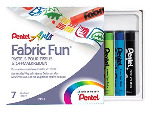 Pentel - Ceras Fabric Fun para uso textil. Caja de 7 colores surtidos